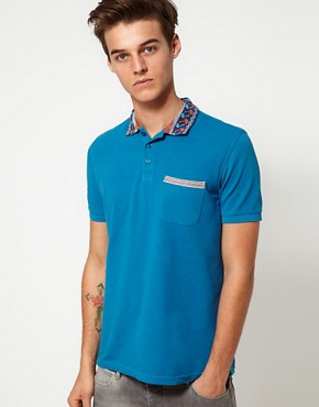 Image 1 ofASOS Polo Shirt With Printed Collar
