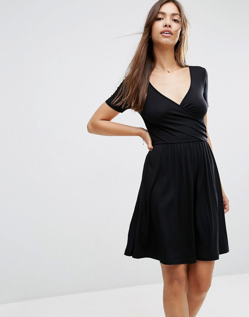 ASOS Wrap Skater Dress with Short Sleeves - Black