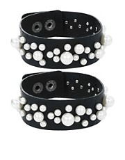 Limited Edition Multipack Pearl Leather Cuff Bracelets