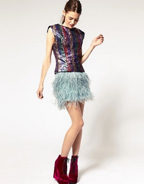Image 1 ofASOS Mini Skirt With Faux Ostritch Style Feathers