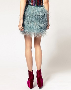 Image 2 ofASOS Mini Skirt With Faux Ostritch Style Feathers
