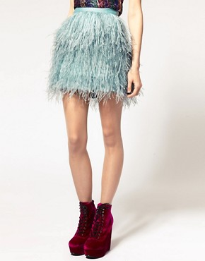 Image 4 ofASOS Mini Skirt With Faux Ostritch Style Feathers