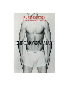Image 4 ofEmporio Armani Pure Cotton 3 Pack Button Fly Trunks