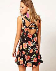 Minkpink Bittersweet Dress with Cross Back in Floral Print