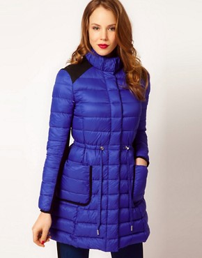 Image 1 ofKaren Millen Quilted Long Coat with Contrast Panels