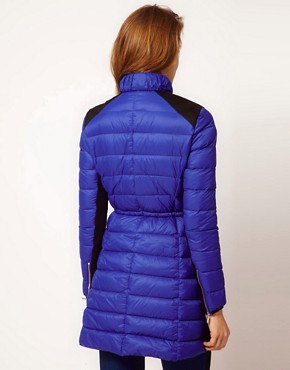Image 2 ofKaren Millen Quilted Long Coat with Contrast Panels