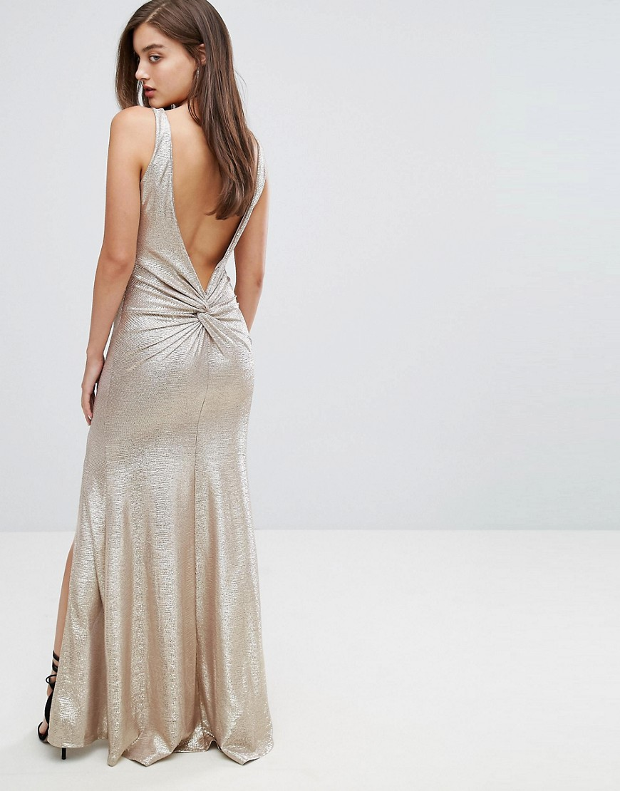 TFNC Highneck Metallic Maxi Dress With Back Knot - Gold