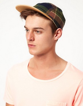 Image 2 ofASOS 5 Panel Cap with Check Detail