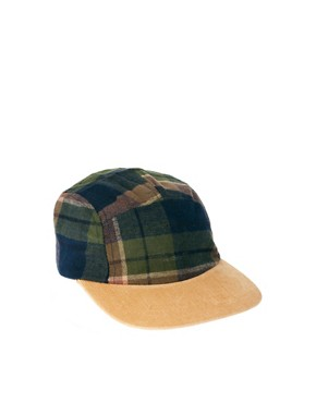 Image 1 of ASOS 5 Panel Cap with Check Detail