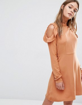 Fashion Union Cold Shoulder Smock Dress With Frills On Shoulder