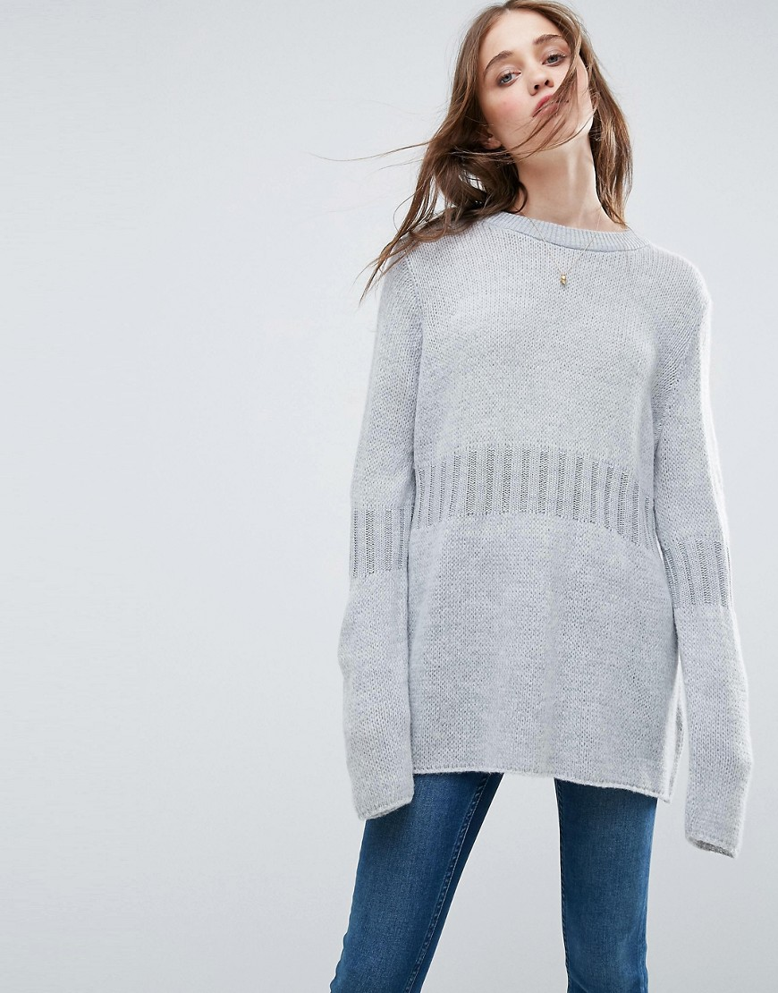 ASOS Oversized Sweater with Rib Detail - Gray