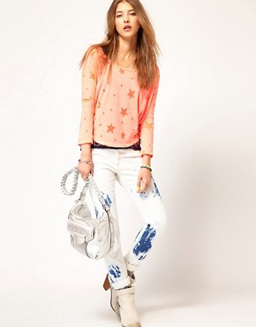 Image 4 ofMaison Scotch Two in One T-Shirt with Star Burn Out