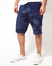 Edwin  Chambray-Chinoshorts mit durchgehendem Paisleymuster