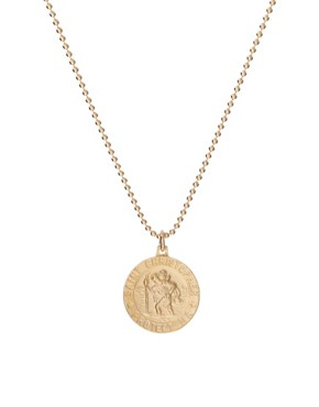 Image 1 ofDogeared Gold Plated Silver Saint Christopher Charm Necklace