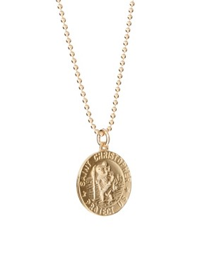 Image 4 ofDogeared Gold Plated Silver Saint Christopher Charm Necklace