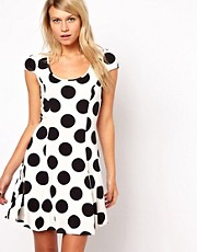 ASOS Skater Dress In Large Spot Print