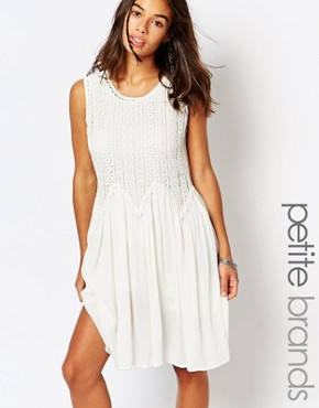Boohoo Petite Crochet Smock Dress