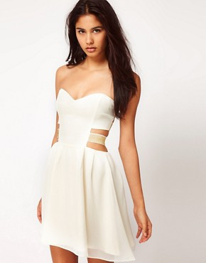 Image 1 ofPaprika Chiffon Bandeau Dress with Lurex Straps