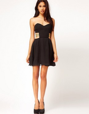 Image 4 ofPaprika Chiffon Bandeau Dress with Lurex Straps