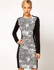 Mango Print Panel Body Con Dress