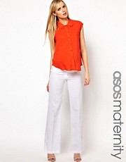 ASOS Maternity Linen Trouser With Pleat Front Detail