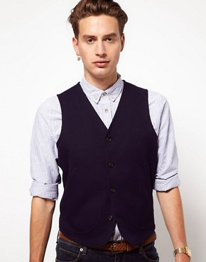 ASOS Slim Fit Vest In Navy