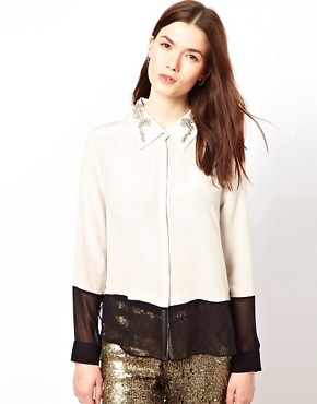 Image 1 ofAryn K Colour Block Blouse With Jewelled Collar
