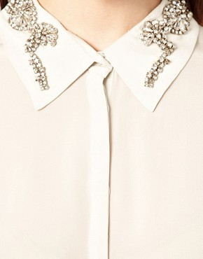 Image 3 ofAryn K Colour Block Blouse With Jewelled Collar