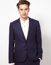 ASOS Slim Fit Suit Jacket In Blue Herringbone
