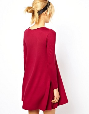Image 2 ofASOS PETITE Exclusive Swing Dress With Long Sleeves