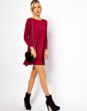 Image 4 ofASOS PETITE Exclusive Swing Dress With Long Sleeves