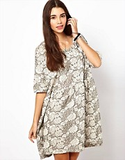 ASOS Smock Dress In Floral Jacquard