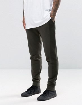 ASOS Skinny Joggers With Mesh Panels In Khaki