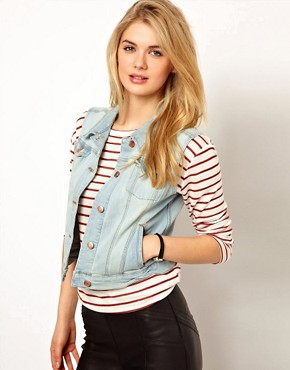 Image 1 ofMango Bleach Wash Denim Sleeveless Jacket