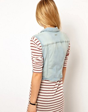 Image 2 ofMango Bleach Wash Denim Sleeveless Jacket