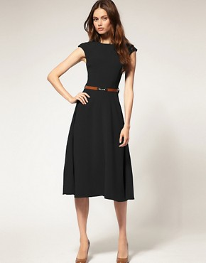 Image 1 ofASOS Midi Dress With Contrast Belt