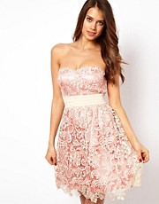 Little Mistress Lace Layered Bandeau Prom Dress