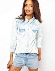 ASOS Denim Shirt in Painted Bleach Out