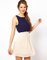 Club L Colourblock Dress With Rope Tie