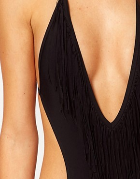 Image 3 ofRiver Island Tassel Front Low Cut Swimsuit