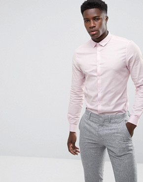 ASOS Smart Slim Oxford Shirt With Stretch In Pink
