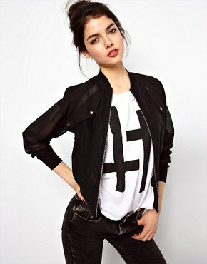 Image 1 ofASOS Bomber Jacket In Layered Mesh