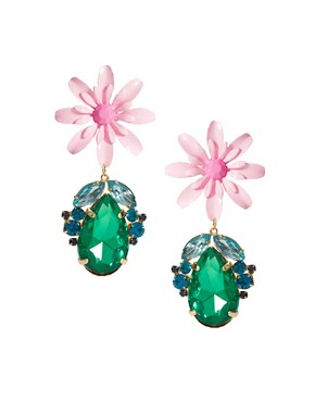 Image 1 ofASOS Flower &amp; Jewel Drop Earrings
