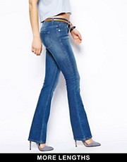 ASOS Lennox Kick Flare Jeans in Mid Stonewash