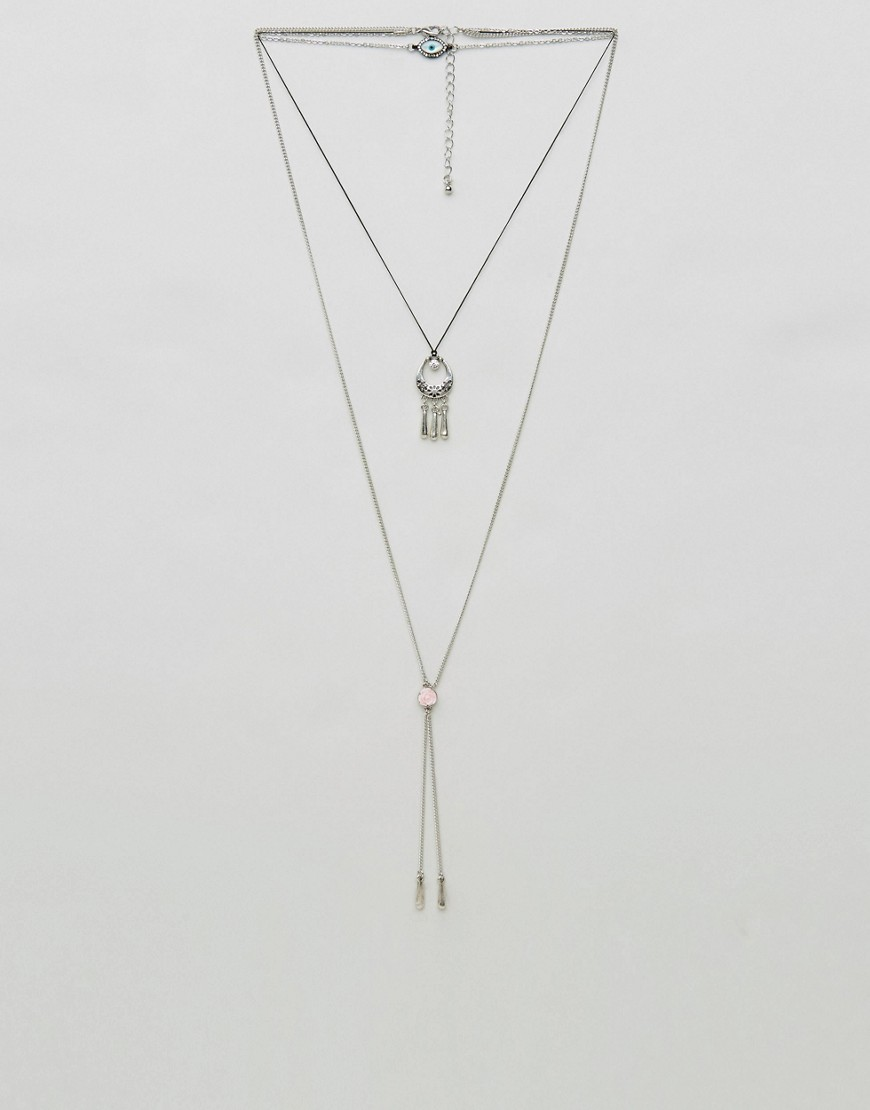 ASOS Festival Charm Multirow Bolo Necklace - Silver