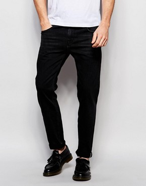 ASOS Selvedge Stretch Slim Jeans In 13oz Black