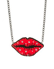 Funky Bling Lips Short Chain Necklace