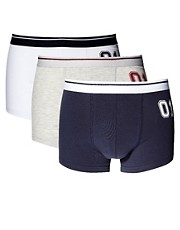 ASOS Three Pack Trunks With Player Slogan