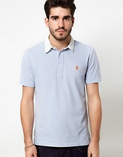Polo Ralph Lauren Polo Shirt In Blue With White Contrast Collar
