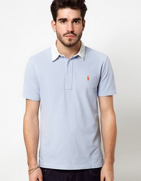 Image 1 ofPolo Ralph Lauren Polo Shirt In Blue With White Contrast Collar